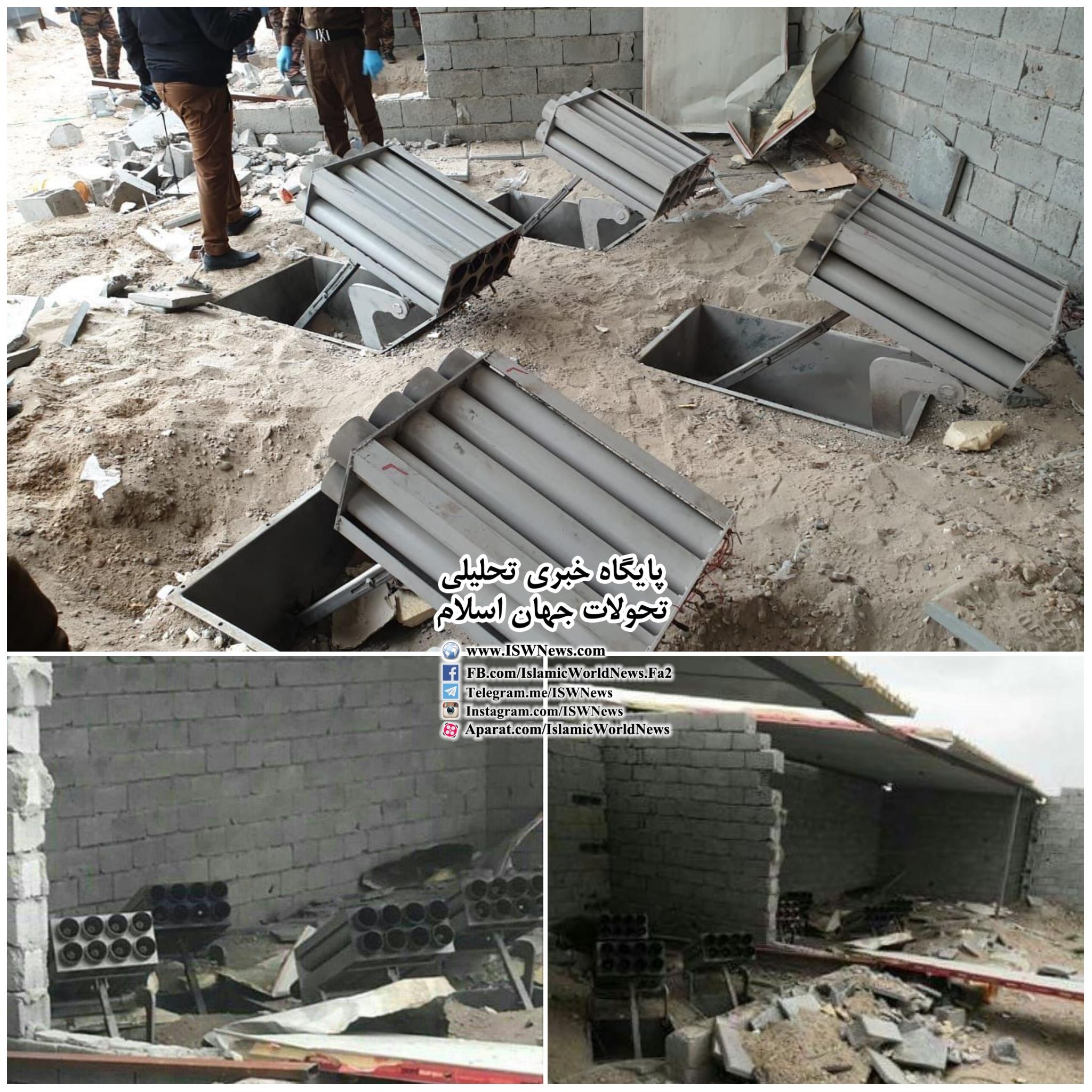 تصاویری از لانچر های کشف شده در روستای ابوعظام در نزدیکی پایگاه تاجی که به سمت محل استقرار تروریستهای آمریکایی و ائتلاف بین المللی شلیک شد.